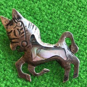 sterling silver Abalone Taxco Mexico  donkey pin